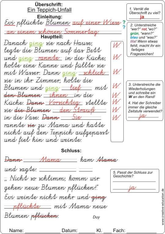 Reizwortgeschichte 4 klasse