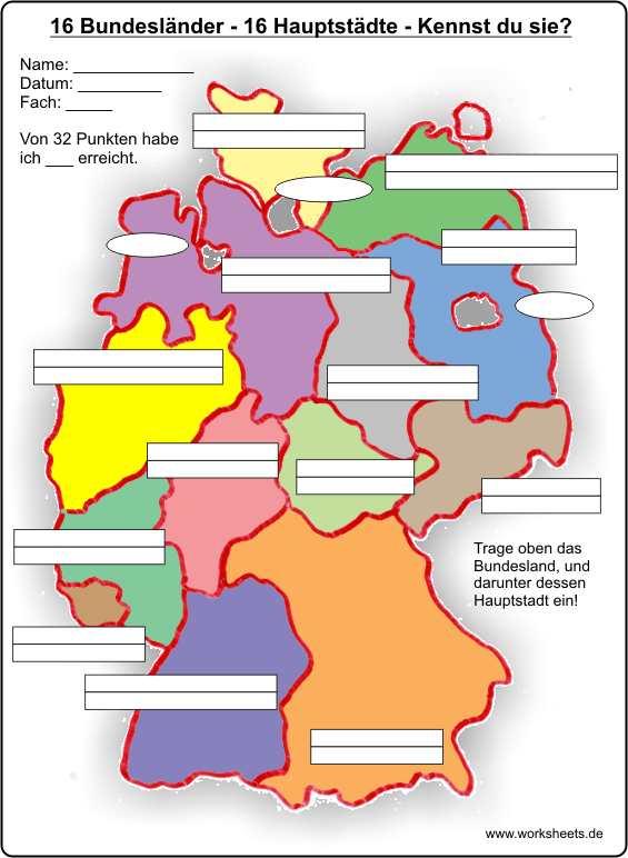 Städte Karte Deutschland Kostenlos.16 Bundesländer 16 Hauptstädte 16 Federal States Of Germany