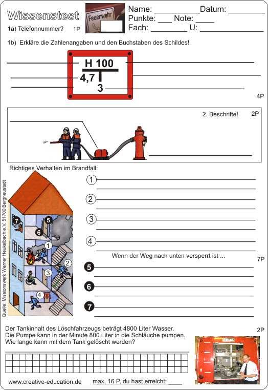 Wissenstest und Probe zum Thema Feuerwehr - Arbeitsblatt und ...