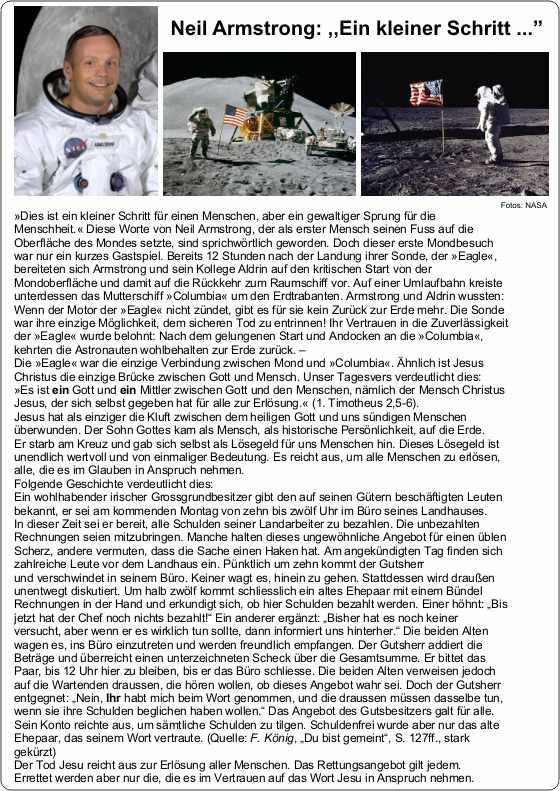 Neil Armstrong-Mondlandung - ein kleiner Schritt